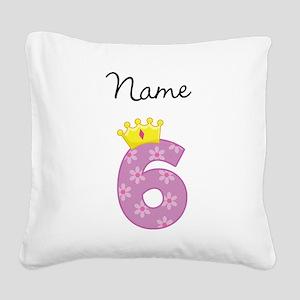 Personalized Princess 6 Square Canvas Pillow