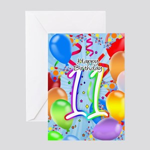 11th Birthday Card With Balloons