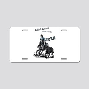 Real Western Cutting Horse Aluminum License Plate