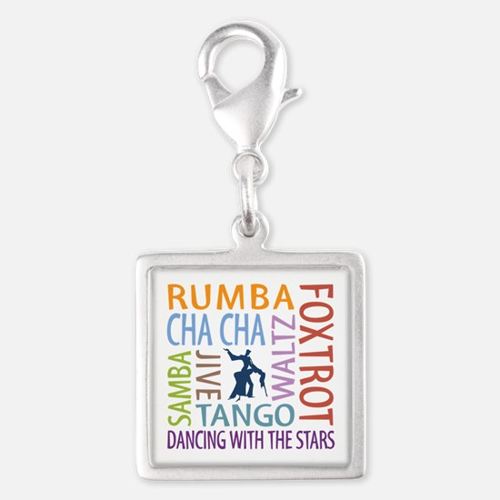 Ballroom Dancing DTWS Silver Square Charm