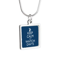 Keep Calm Watch DWTS Silver Square Necklace