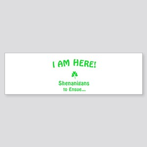 I am here! Shenanigans to Ensue... Bumper Sticker