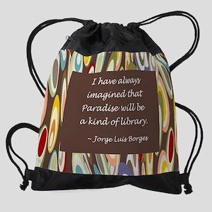 paradise library Borges Drawstring Bag