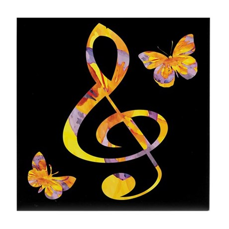 Modern watercolor treble clef and but Tile Coaster
