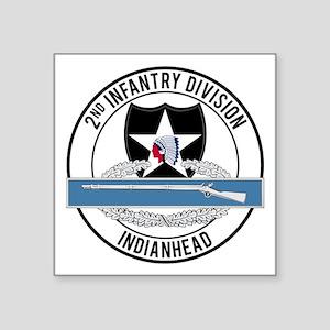 "2nd ID CIB Indianhead Square Sticker 3"" x 3"""