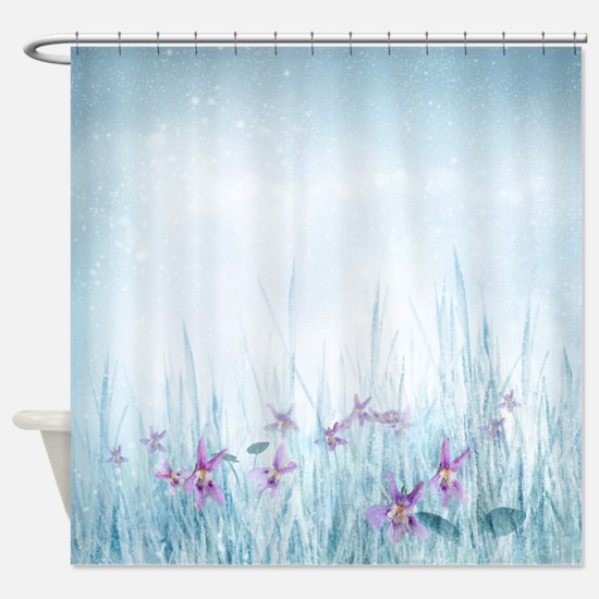 Winter Violets Shower Curtain