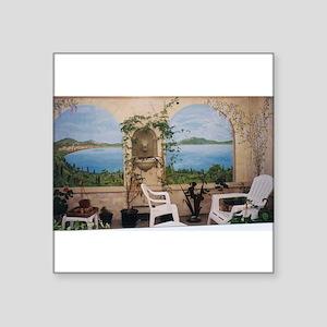 """View of Lake Como Square Sticker 3"""" x 3"""""""