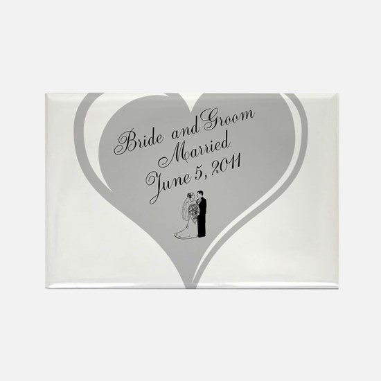 Bride and Groom personalized Wedding Heart Magnets