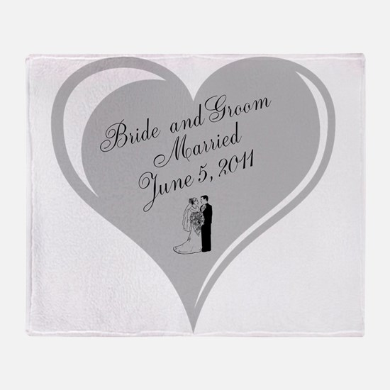 Bride and Groom personalized Wedding Heart Throw B