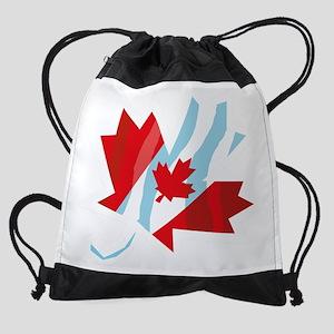 maple_leaf_flag_blk Drawstring Bag
