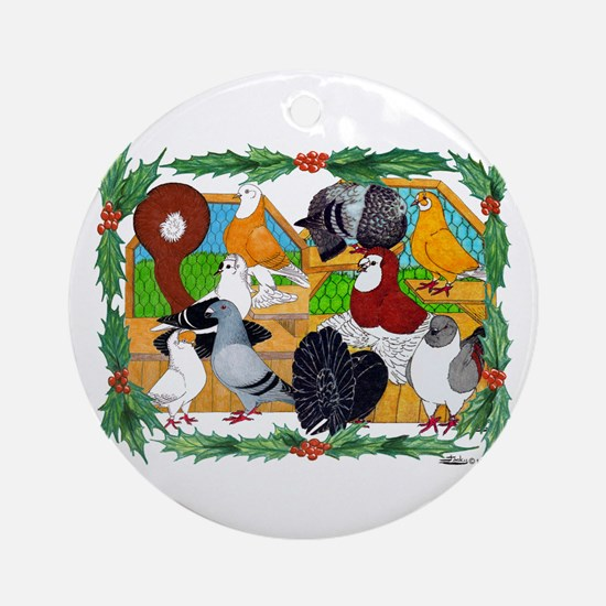 Christmas Pigeons Ornament (Round)
