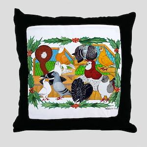 Christmas Pigeons Throw Pillow
