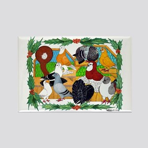 Christmas Pigeons Rectangle Magnet