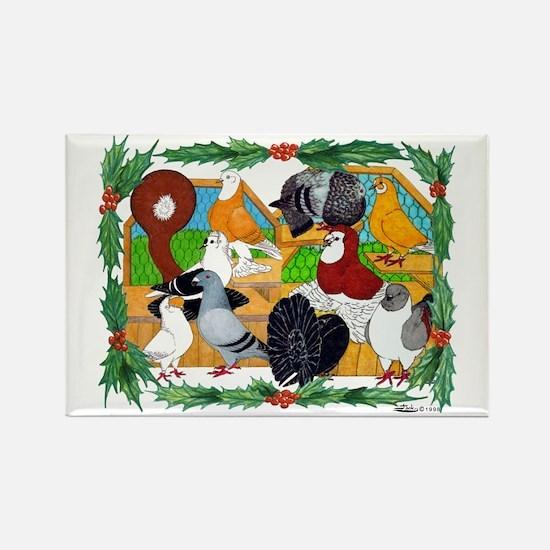 Christmas Pigeons Rectangle Magnet