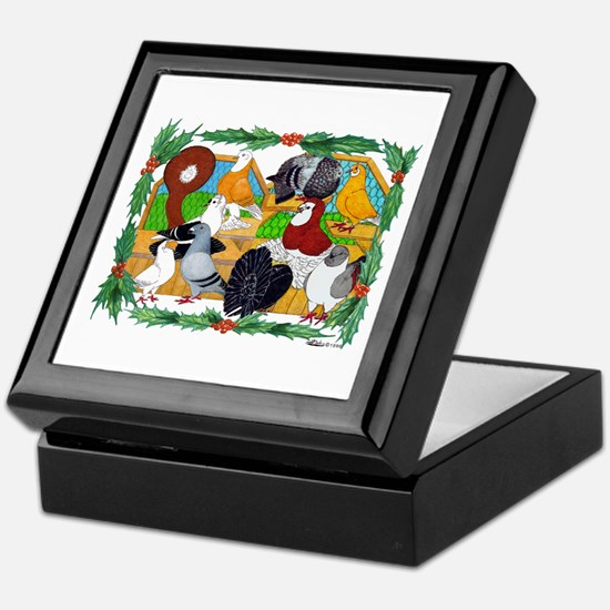 Christmas Pigeons Keepsake Box