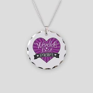 World's Best Mom Purple Necklace Circle Charm