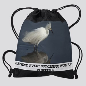Egret Reflection PNG Drawstring Bag