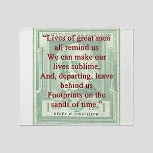 Lives Of Great Men - Longfellow Throw Blanket