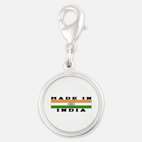 India Made In Silver Round Charm