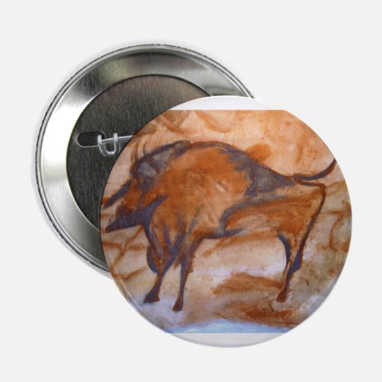"""Alta Mira Bison Cave Painting 2.25"""" Button"""