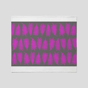 Fern - Pink Grey Throw Blanket