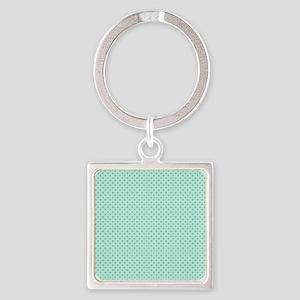 Cute Girly Mint Green Polka Dots Square Keychain