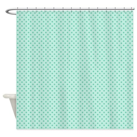 Cute Girly Mint Green Polka Dots Shower Curtain by expressyoursoul