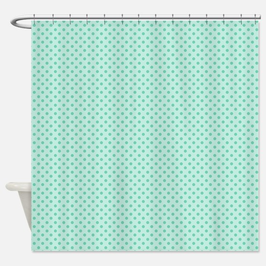 Cute Girly Mint Green Polka Dots Shower Curtain