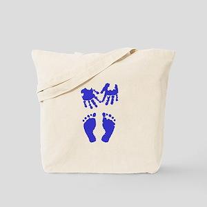 Baby boy love hand and footprint Tote Bag