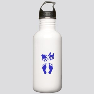 Baby boy love hand and footprint Water Bottle