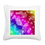 Rainbow Bokeh Pattern Square Canvas Pillow