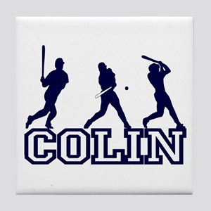 Baseball Colin Personalized Tile Coaster