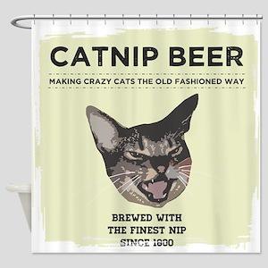 Crazy Catnip Beer light Shower Curtain