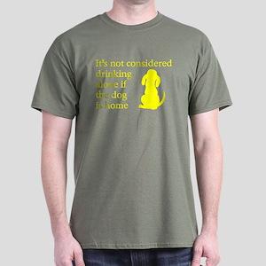 Drinking Alone Dog Home Dark T-Shirt