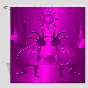 Purple Desert Kokopelli Shower Curtain
