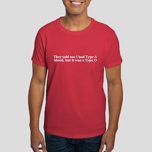 Type A Blood Type O Dark T-Shirt