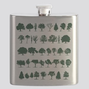 Tree Silhouettes Green 1 Flask