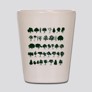 Tree Silhouettes Green 1 Shot Glass