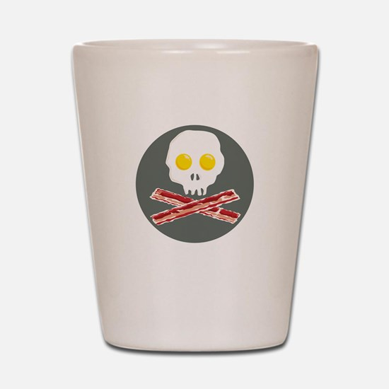 Bacon and Eggs Skull and Crossbones Shot Glass