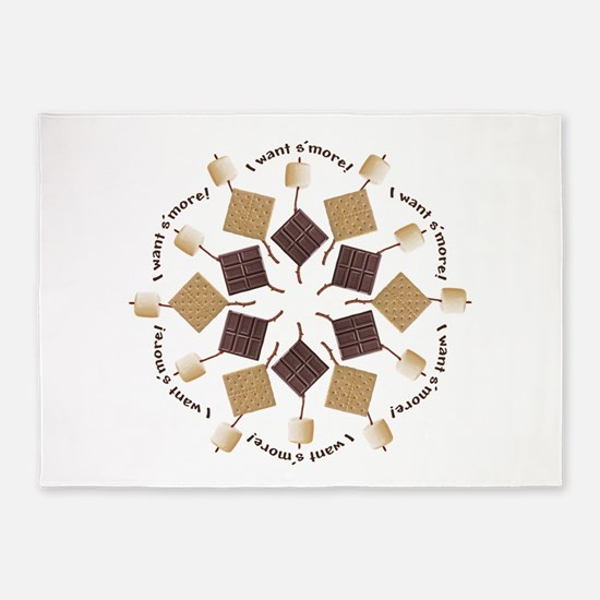 S'mores Snowflake! 5'x7'Area Rug