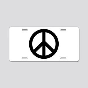 Black Peace Sign Aluminum License Plate