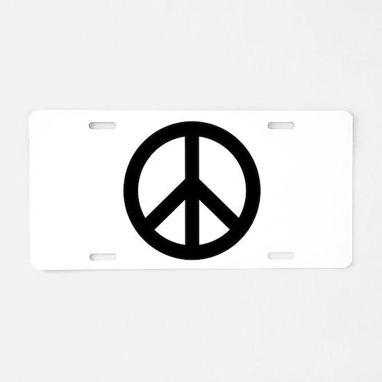 Black Peace Sign Aluminum License Plate