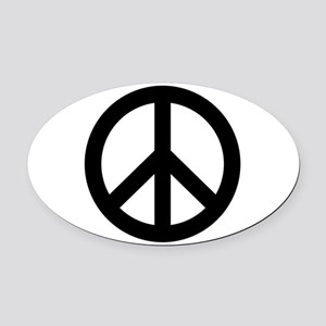 Black Peace Sign Oval Car Magnet