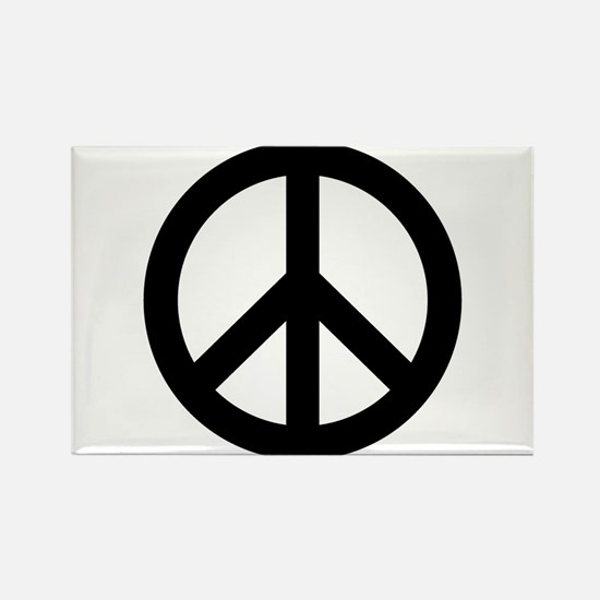 Black Peace Sign Rectangle Magnet (100 pack)