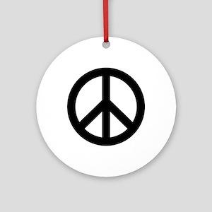 Black Peace Sign Ornament (Round)