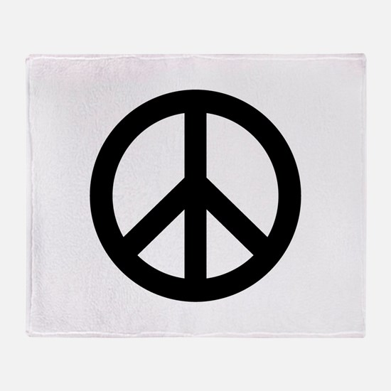 Black Peace Sign Throw Blanket