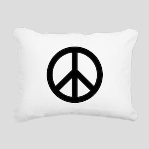 Black Peace Sign Rectangular Canvas Pillow