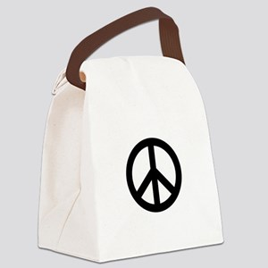 Black Peace Sign Canvas Lunch Bag