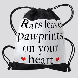 Rats Leave Footprints On Our Hearts Drawstring Bag