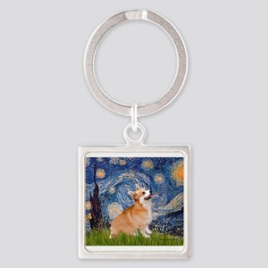 Starry Night Corgi Keychains